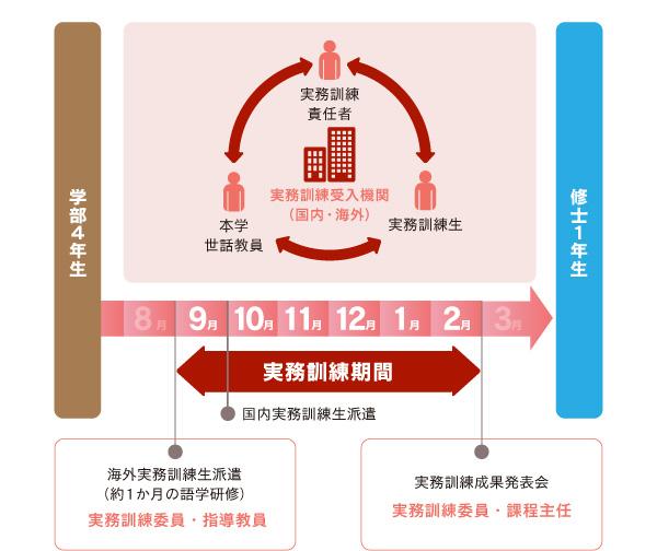実務訓練の組織図とスケジュール